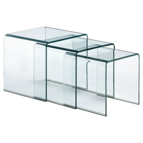 GLASS NEST OF THREE TABLES