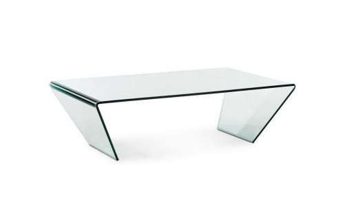 Angled clear glass table