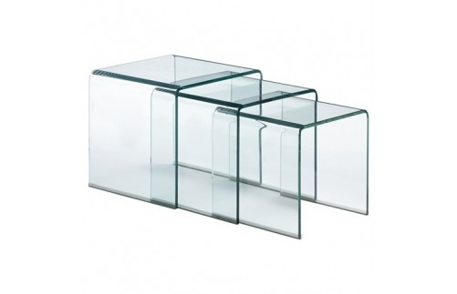 3 Clear Nested Glass tables