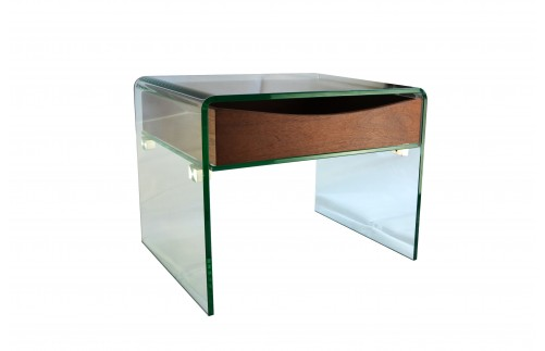 GLASS SIDE TABLE WITH WOODEN SHELF DRAWER