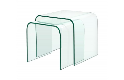 GLASS NEST OF TWO CURVED TABLES
