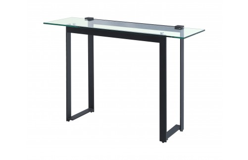 CLEAR GLASS CONSOLE TABLE ON BLACK IRON FRAME