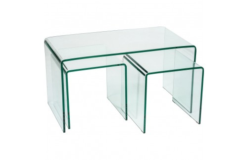 Long glass nest of three clear glass tables