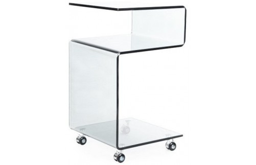 GLASS SIDE TABLE WITH SHELF AND CASTERS - no background