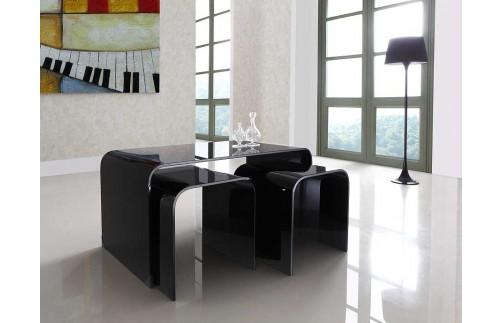 LONG BLACK GLASS NEST OF 3 TABLES
