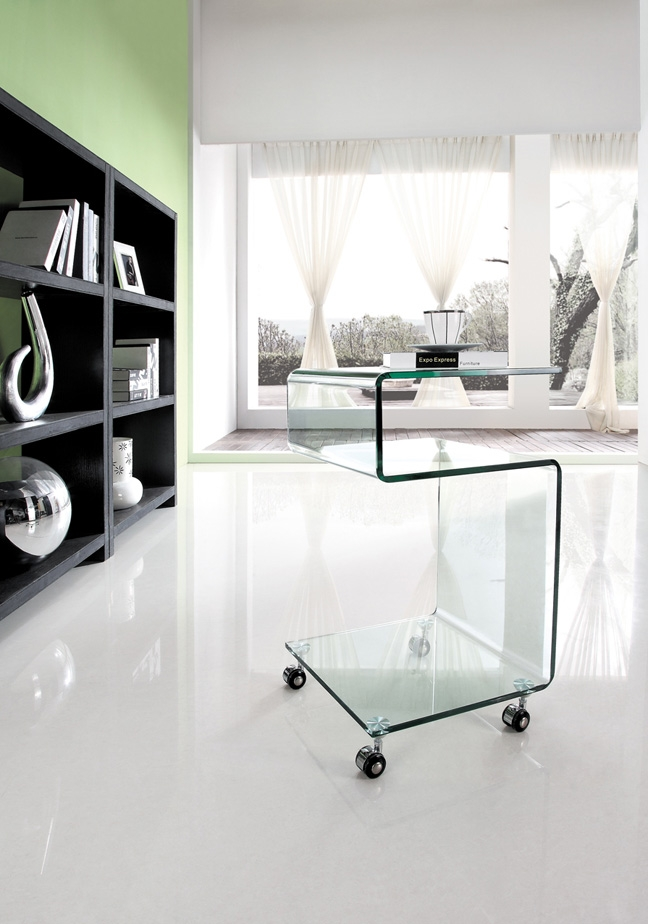 GLASS SIDE TABLE WITH SHELF AND CASTERS