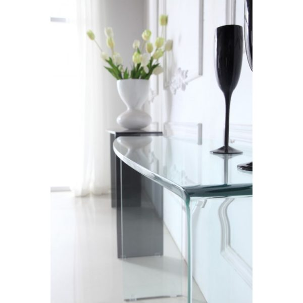 Curved clear glass console table - Glass Tables Online