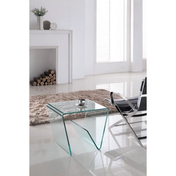 Clear Glass Media Side Table - Glass Tables Online