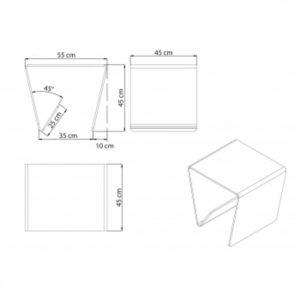 Angled Glass Media Side Table