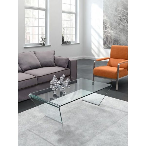 Angled funky clear glass coffee table