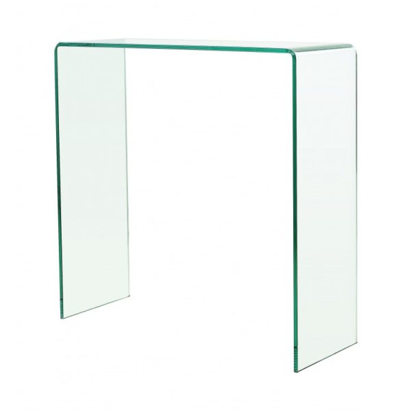 Clear Bent glass console table - Glass Tables Online