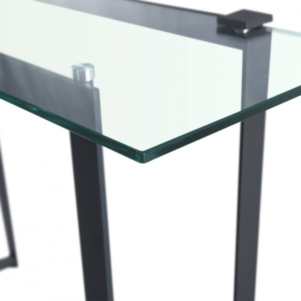 black metal framed clear glass console table - Glass Tables Online