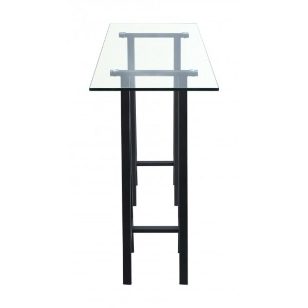 Clear glass console on trestle legs - Glass Tables Online