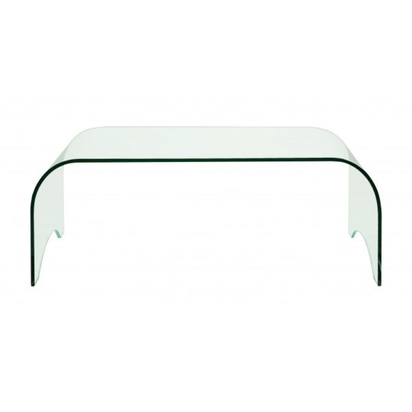 Small clear glass curved coffee table