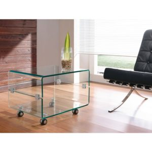 Clear glass Coffee table on caster wheels - Glass Tables Online