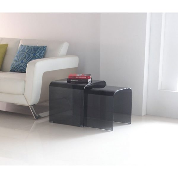 Nested smoked grey glass side tables