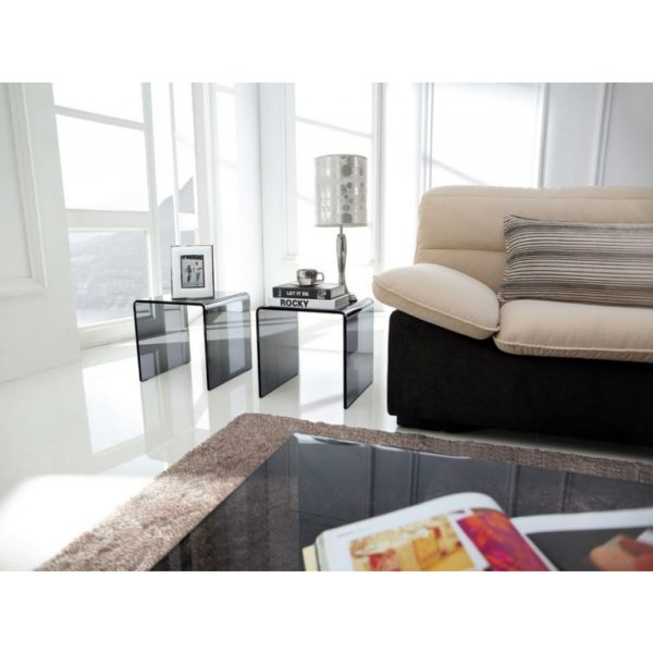 Pair of smoked grey glass side tables - Glass Tables Online