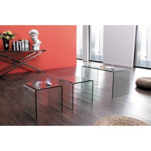 Long Glass Nest of 3 Tables
