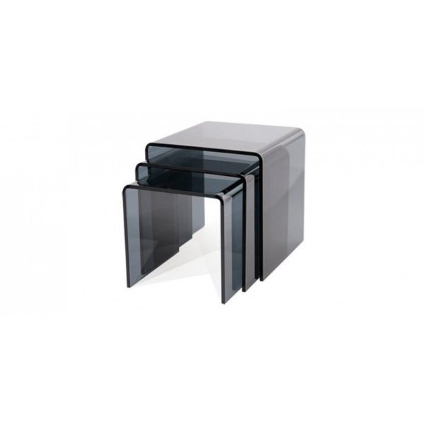 Smoked Grey three nested glass side tables