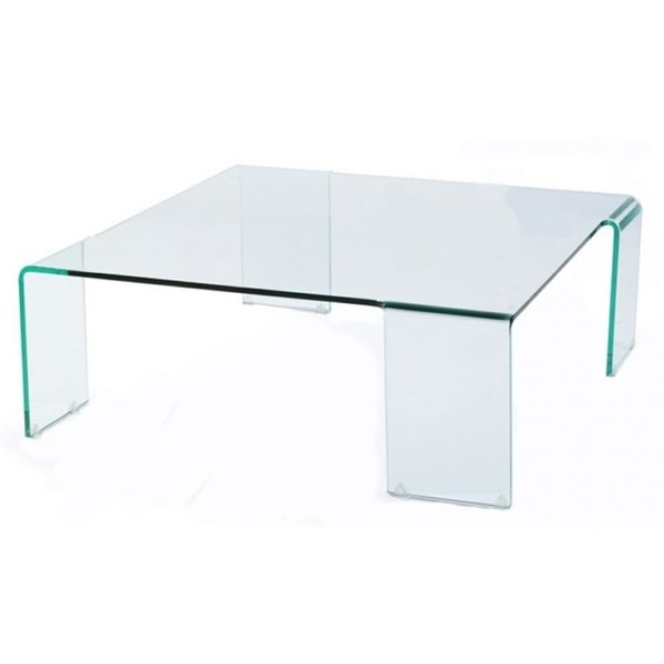 Large square clear glass coffee table on legs