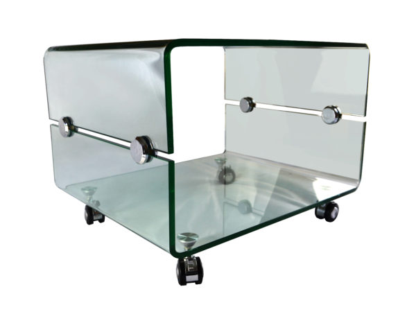 Glass Side table on casters - Glass Tables Online
