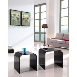 black glass nested curved tables