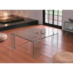 Glass Large Square Coffee Table on 4 Legs