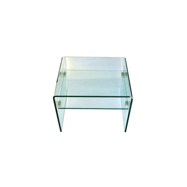 Clear glass side table with wooden drawer - Glass Tables Online