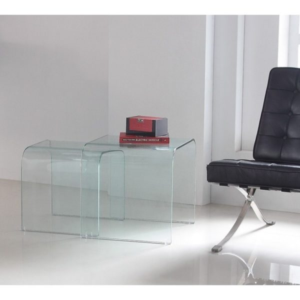 Curved clear glass nested tables