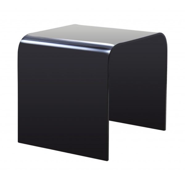 Pair of black glass extra curved side tables - Glass Tables Online