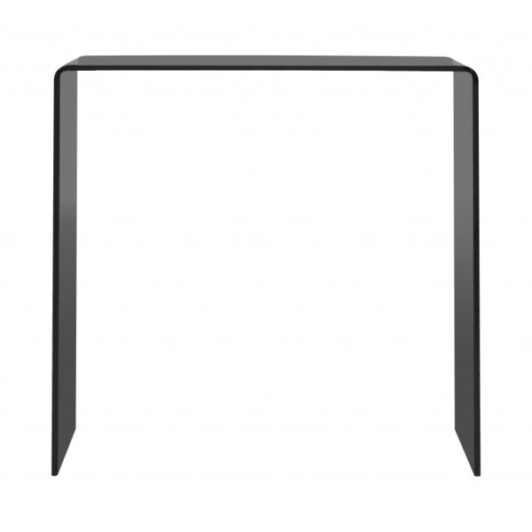 Smoked grey bent glass console table - Glass Tables Online