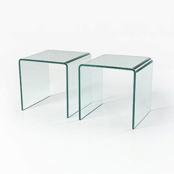 Pair of clear glass side tables - Glass Tables Online