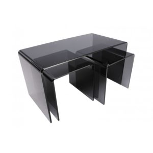 Long smoked grey glass nested tables