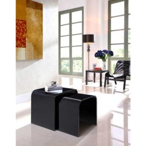 Black Glass Nest of Two Curved Tables