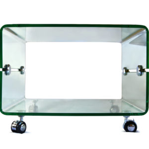 Clear Glass Side Table on Caster Wheels