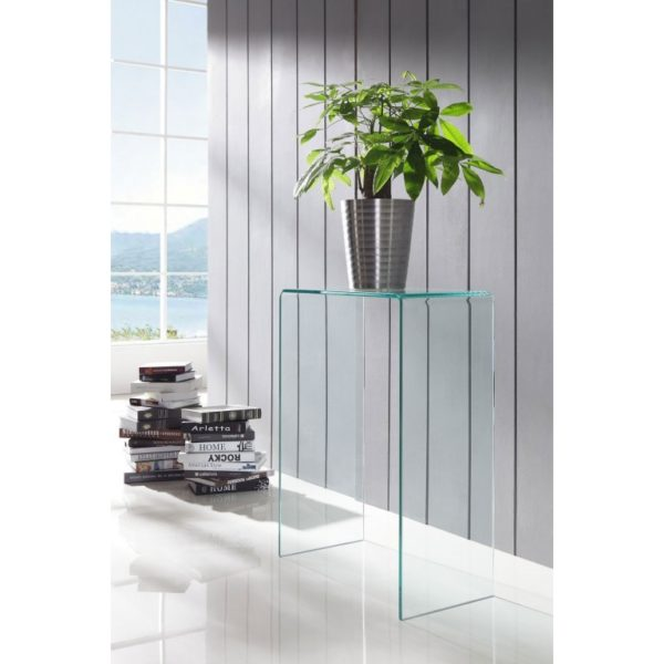 extra small clear glass console table - Glass Tables Online