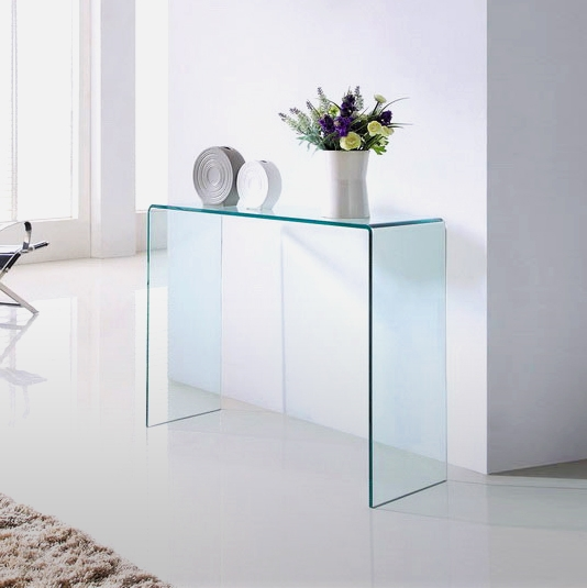 Clear glass large console table