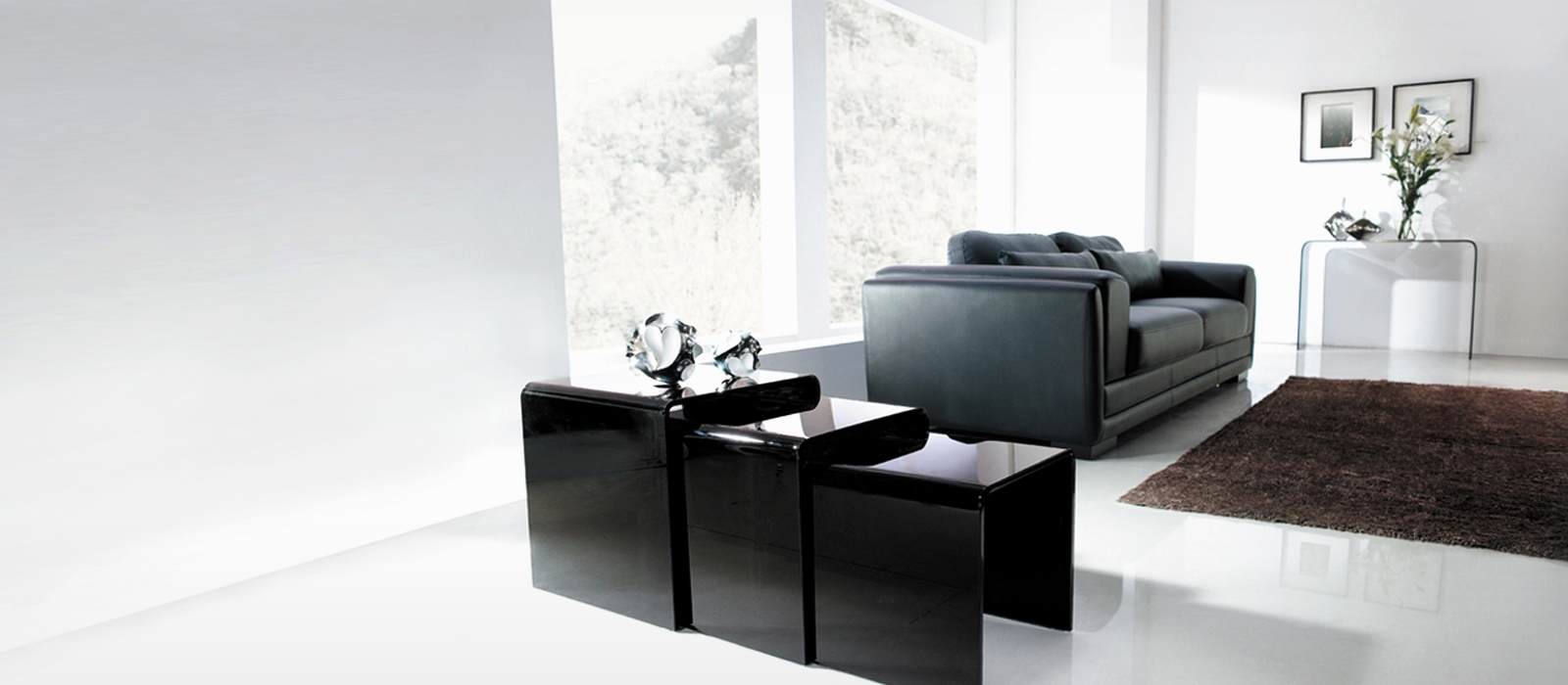 Black Nested Glass Tables - Glass Tables Online