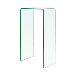 Micro clear glass console table